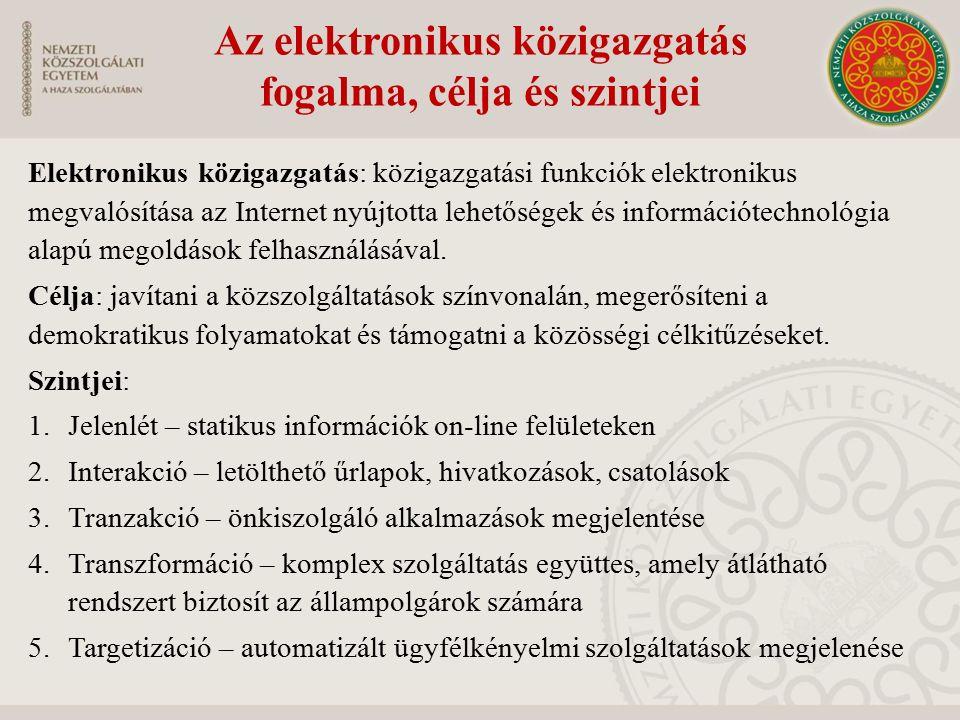 Az elektronikus közigazgatás fogalma, célja és szintjei Elektronikus közigazgatás: közigazgatási funkciók elektronikus megvalósítása az Internet nyújt