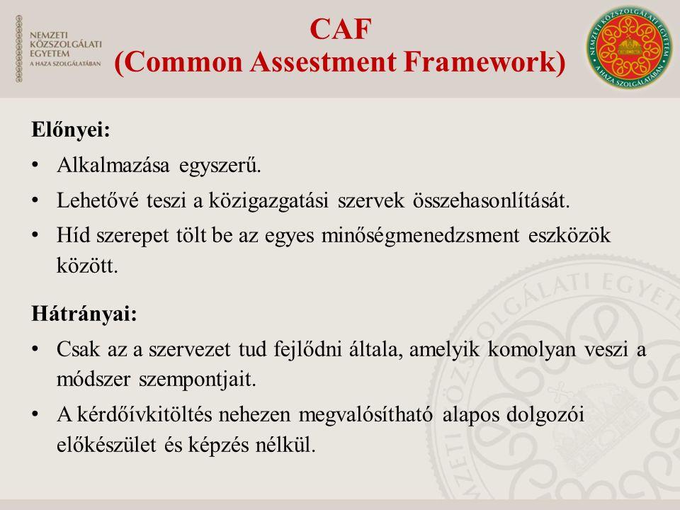 CAF (Common Assestment Framework) Előnyei: Alkalmazása egyszerű. Lehetővé teszi a közigazgatási szervek összehasonlítását. Híd szerepet tölt be az egy
