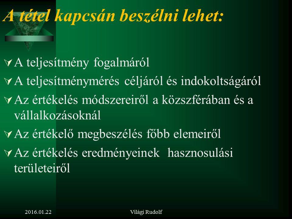 2016.01.22Világi Rudolf 12. tétel Miért van szükség a rendszeres teljesítménymérésre? Milyen módszerei vannak az értékelésnek? Milyen további HR felad