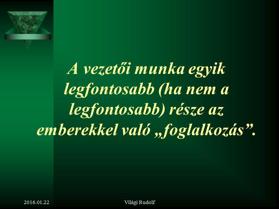 Világi Rudolf A vezetők személyügyi feladatai. 2016.01.22