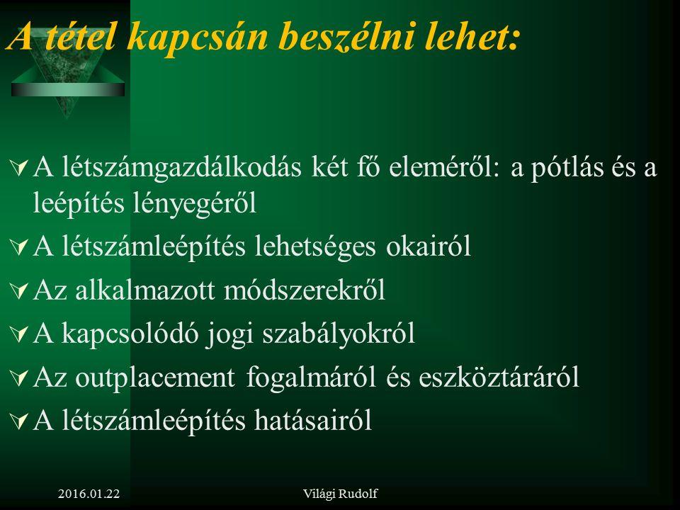 2016.01.22Világi Rudolf 21. tétel Ismertesse a csoportos létszámleépítés és az outplacement lényegét! Mit tehet a szervezet és a HR a létszámleépítés