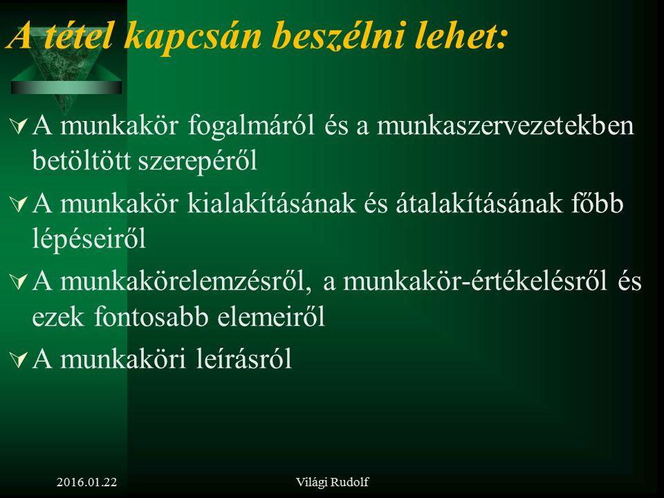 2016.01.22Világi Rudolf 5. tétel Ismertesse a munkakör, munkakörelemzés és munkaköri követelményprofil fogalmát és meghatározásának módszereit!