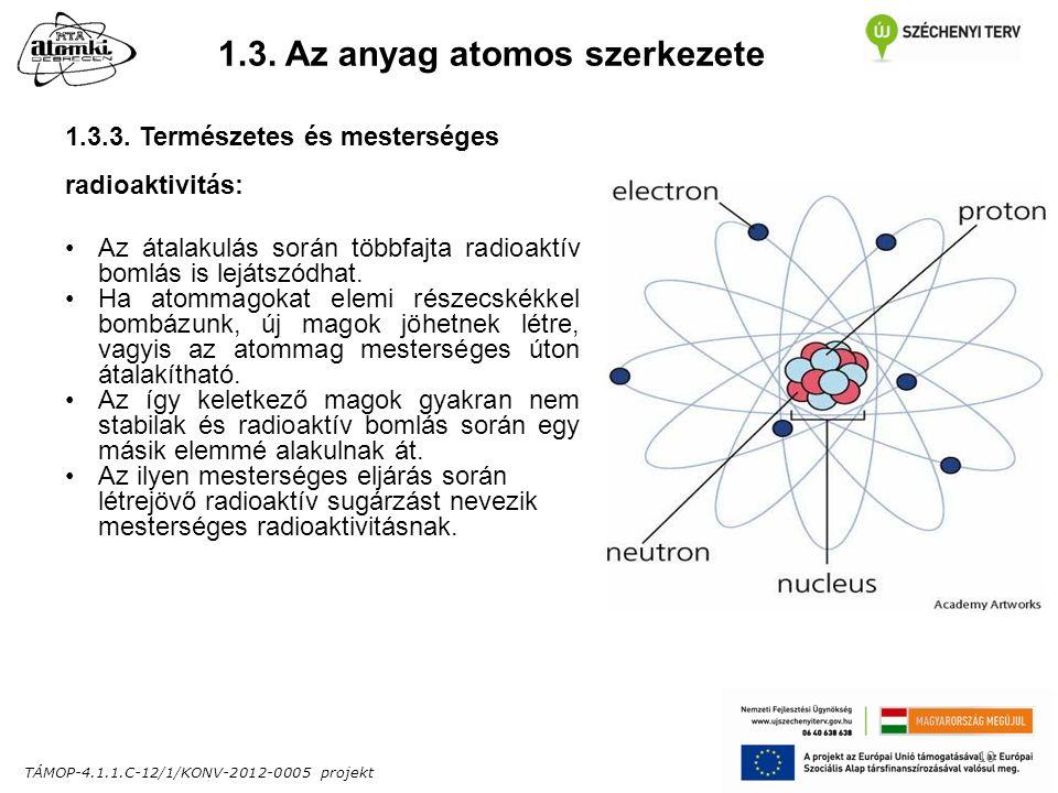 TÁMOP-4.1.1.C-12/1/KONV-2012-0005 projekt 10 1.3. Az anyag atomos szerkezete 1.3.3.