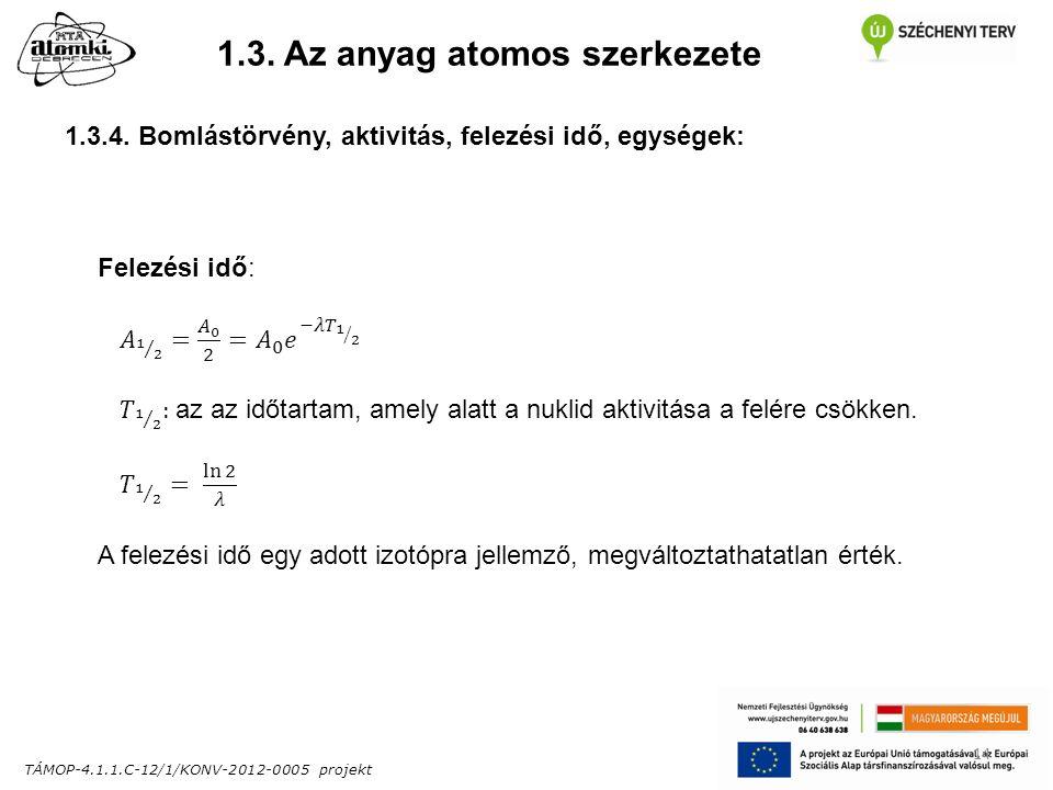 TÁMOP-4.1.1.C-12/1/KONV-2012-0005 projekt 14 1.3. Az anyag atomos szerkezete 1.3.4.