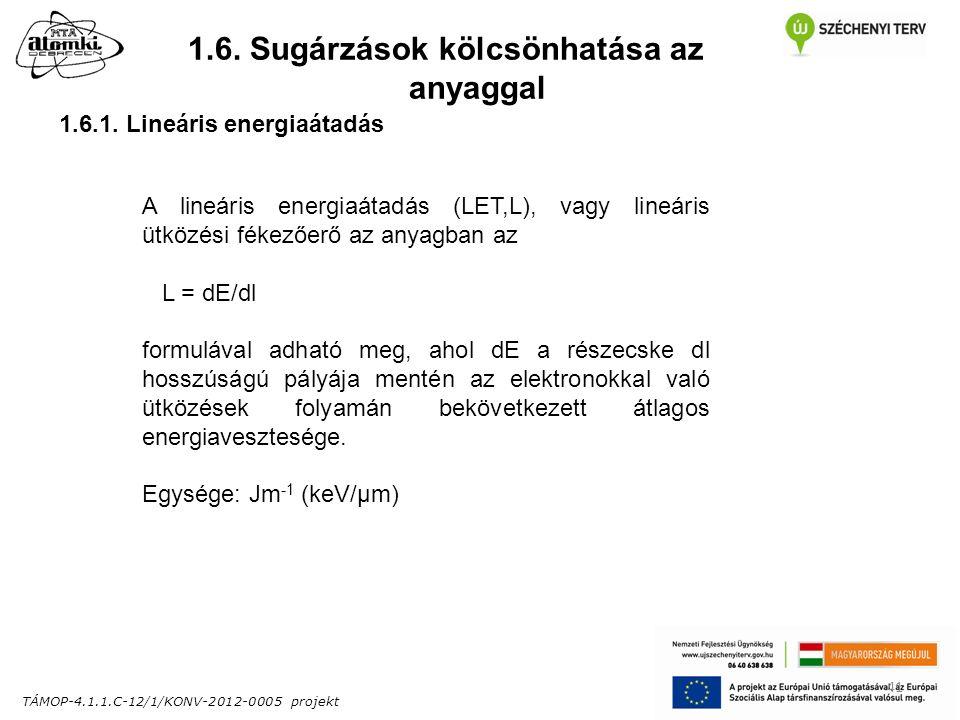 TÁMOP-4.1.1.C-12/1/KONV-2012-0005 projekt 41 1.6. Sugárzások kölcsönhatása az anyaggal 1.6.1.