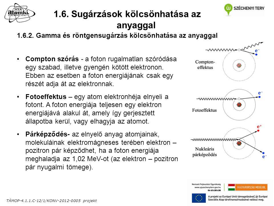 TÁMOP-4.1.1.C-12/1/KONV-2012-0005 projekt 43 1.6. Sugárzások kölcsönhatása az anyaggal 1.6.2.