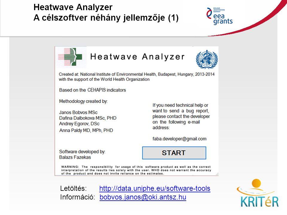 KRITéR Projektzáró Rendezvény 2015. december 8., Budapest Heatwave Analyzer A célszoftver néhány jellemzője (1) Letöltés: http://data.uniphe.eu/softwa