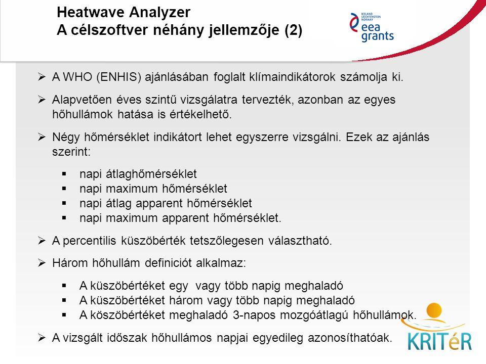 KRITéR Projektzáró Rendezvény 2015. december 8., Budapest Heatwave Analyzer A célszoftver néhány jellemzője (2)  A WHO (ENHIS) ajánlásában foglalt kl