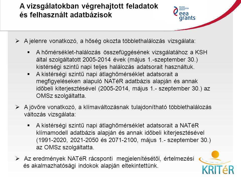 A vizsgálatokban végrehajtott feladatok és felhasznált adatbázisok KRITéR Projektzáró Rendezvény 2015. december 8., Budapest  A jelenre vonatkozó, a