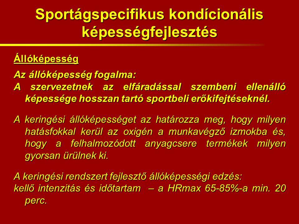 Állóképesség Az állóképesség fogalma: A szervezetnek az elfáradással szembeni ellenálló képessége hosszan tartó sportbeli erőkifejtéseknél.
