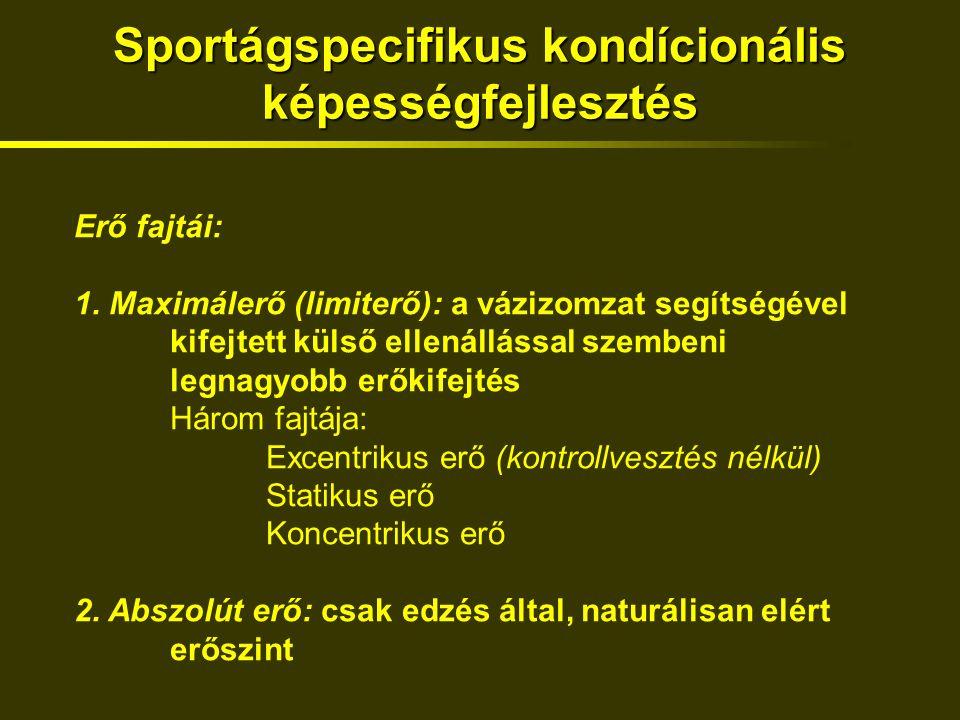 Sportágspecifikus kondícionális képességfejlesztés Erő fajtái: 1.
