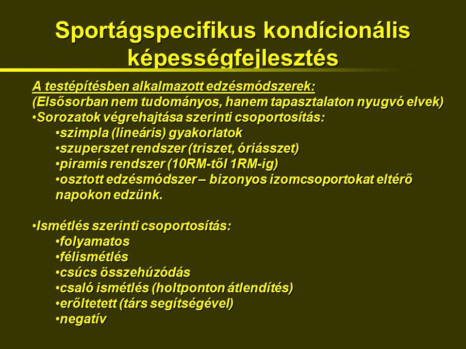 Sportágspecifikus kondícionális képességfejlesztés A testépítésben alkalmazott edzésmódszerek: (Elsősorban nem tudományos, hanem tapasztalaton nyugvó elvek) Sorozatok végrehajtása szerinti csoportosítás:Sorozatok végrehajtása szerinti csoportosítás: szimpla (lineáris) gyakorlatokszimpla (lineáris) gyakorlatok szuperszet rendszer (triszet, óriásszet)szuperszet rendszer (triszet, óriásszet) piramis rendszer (10RM-től 1RM-ig)piramis rendszer (10RM-től 1RM-ig) osztott edzésmódszer – bizonyos izomcsoportokat eltérő napokon edzünk.osztott edzésmódszer – bizonyos izomcsoportokat eltérő napokon edzünk.
