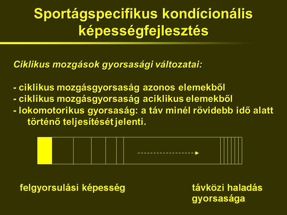 Sportágspecifikus kondícionális képességfejlesztés Ciklikus mozgások gyorsasági változatai: - ciklikus mozgásgyorsaság azonos elemekből - ciklikus mozgásgyorsaság aciklikus elemekből - lokomotorikus gyorsaság: a táv minél rövidebb idő alatt történő teljesítését jelenti.