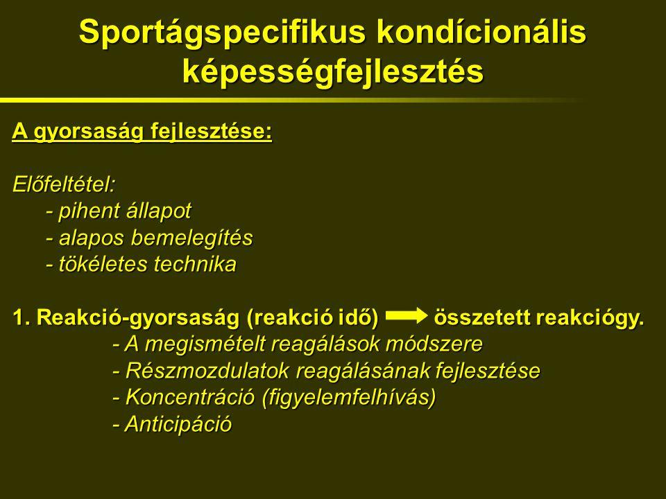 Sportágspecifikus kondícionális képességfejlesztés A gyorsaság fejlesztése: Előfeltétel: - pihent állapot - alapos bemelegítés - tökéletes technika 1.