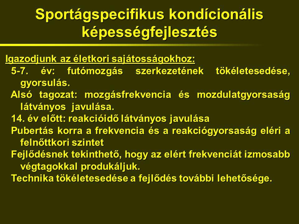 Sportágspecifikus kondícionális képességfejlesztés Igazodjunk az életkori sajátosságokhoz: 5-7.