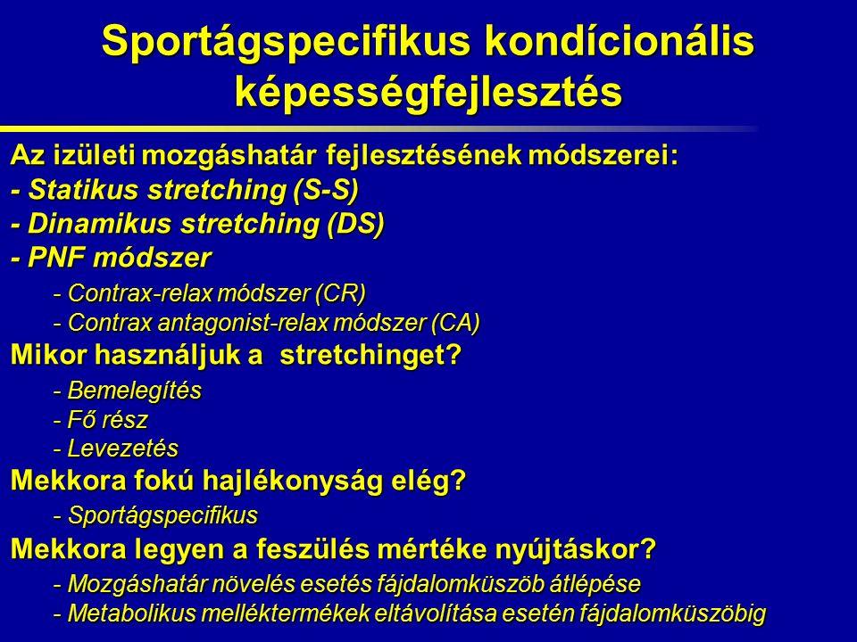 Sportágspecifikus kondícionális képességfejlesztés Az izületi mozgáshatár fejlesztésének módszerei: - Statikus stretching (S-S) - Dinamikus stretching (DS) - PNF módszer - Contrax-relax módszer (CR) - Contrax antagonist-relax módszer (CA) Mikor használjuk a stretchinget.