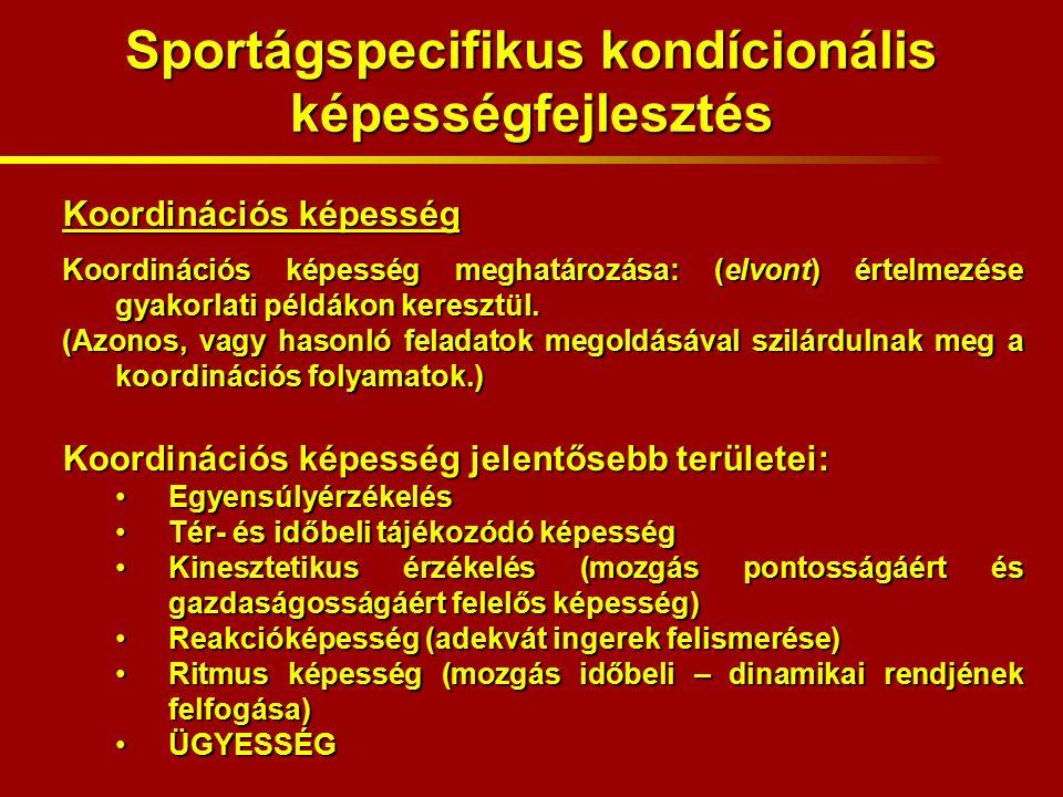 Sportágspecifikus kondícionális képességfejlesztés Koordinációs képesség Koordinációs képesség meghatározása: (elvont) értelmezése gyakorlati példákon keresztül.