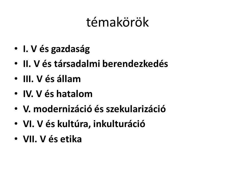 témakörök I. V és gazdaság II. V és társadalmi berendezkedés III. V és állam IV. V és hatalom V. modernizáció és szekularizáció VI. V és kultúra, inku