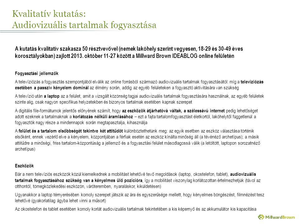Kvalitatív kutatás: Audiovizuális tartalmak fogyasztása A kutatás kvalitatív szakasza 50 résztvevővel (nemek lakóhely szerint vegyesen, 18-29 és 30-49