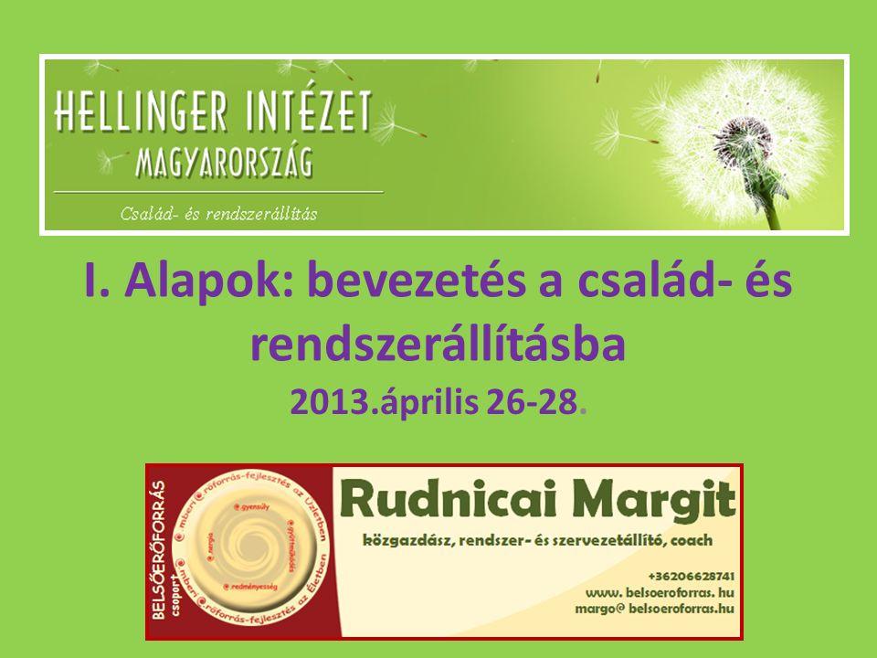 I. Alapok: bevezetés a család- és rendszerállításba 2013.április 26-28.