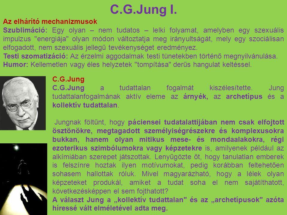 C.G.Jung I. Az elhárító mechanizmusok Szublimáció: Egy olyan – nem tudatos – lelki folyamat, amelyben egy szexuális impulzus