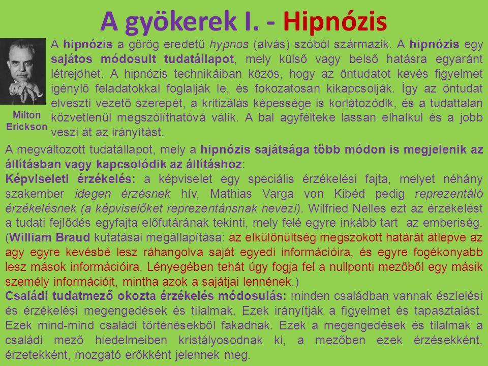 A gyökerek I. - Hipnózis A hipnózis a görög eredetű hypnos (alvás) szóból származik. A hipnózis egy sajátos módosult tudatállapot, mely külső vagy bel