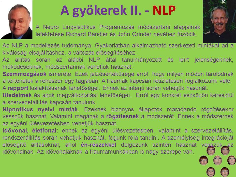 A gyökerek II. - NLP A Neuro Lingvisztikus Programozás módszertani alapjainak lefektetése Richard Bandler és John Grinder nevéhez fűződik. Az NLP a mo