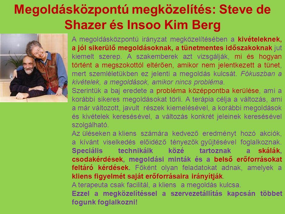 Megoldásközpontú megközelítés: Steve de Shazer és Insoo Kim Berg A megoldásközpontú irányzat megközelítésében a kivételeknek, a jól sikerülő megoldáso