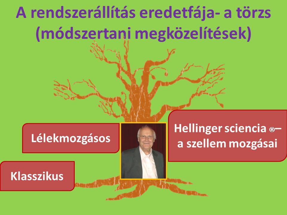 A rendszerállítás eredetfája- a törzs (módszertani megközelítések) Klasszikus Lélekmozgásos Hellinger sciencia  – a szellem mozgásai
