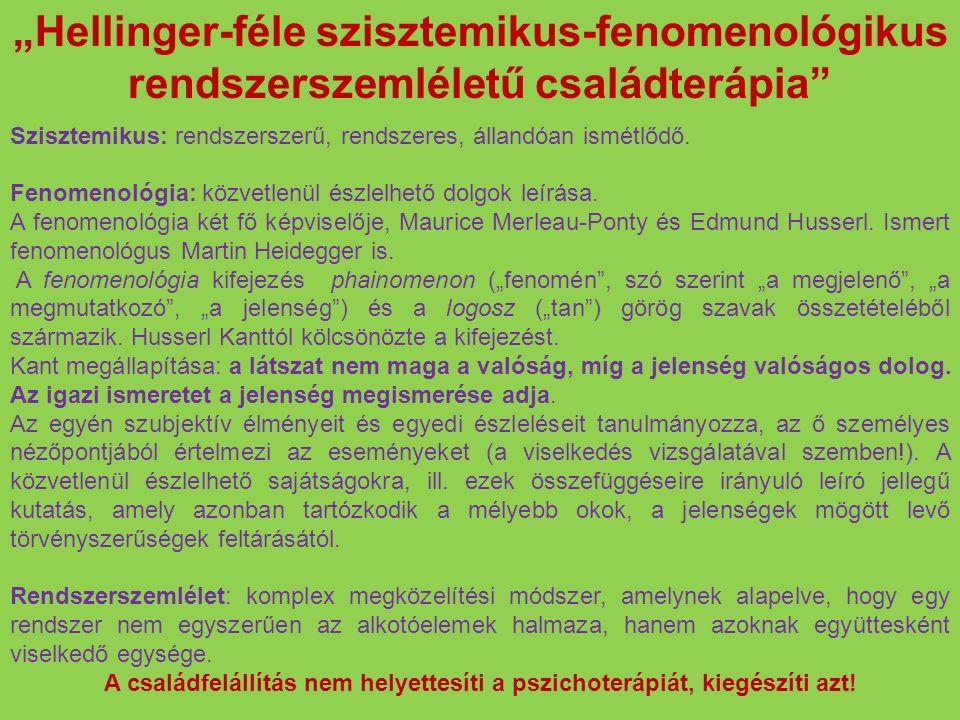 """""""Hellinger-féle szisztemikus-fenomenológikus rendszerszemléletű családterápia"""" Szisztemikus: rendszerszerű, rendszeres, állandóan ismétlődő. Fenomenol"""