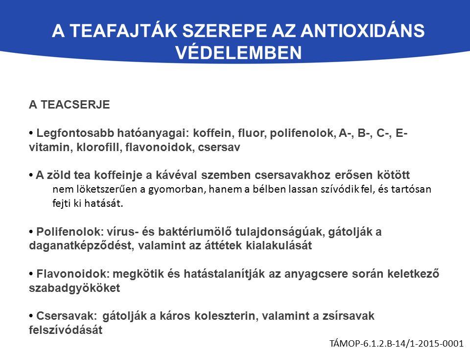 A TEACSERJE Legfontosabb hatóanyagai: koffein, fluor, polifenolok, A-, B-, C-, E- vitamin, klorofill, flavonoidok, csersav A zöld tea koffeinje a kávéval szemben csersavakhoz erősen kötött nem löketszerűen a gyomorban, hanem a bélben lassan szívódik fel, és tartósan fejti ki hatását.