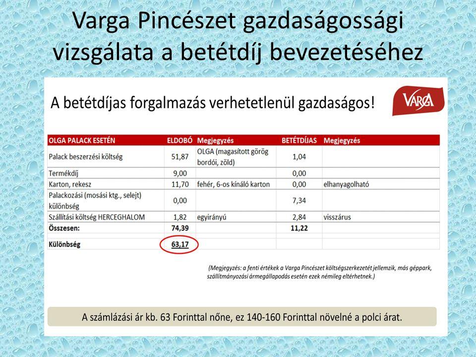 Varga Pincészet gazdaságossági vizsgálata a betétdíj bevezetéséhez