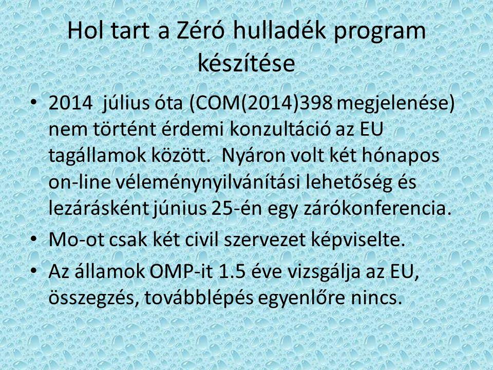 Hol tart a Zéró hulladék program készítése 2014 július óta (COM(2014)398 megjelenése) nem történt érdemi konzultáció az EU tagállamok között.