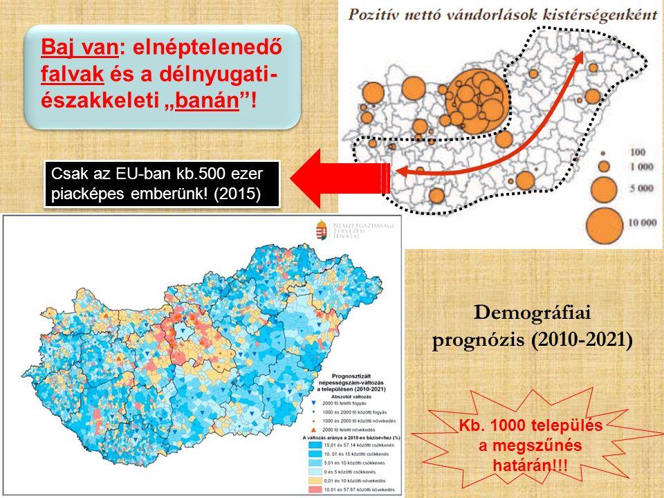 """Baj van: elnéptelenedő falvak és a délnyugati- északkeleti """"banán""""! Demográfiai prognózis (2010-2021) Kb. 1000 település a megszűnés határán!!! Csak a"""