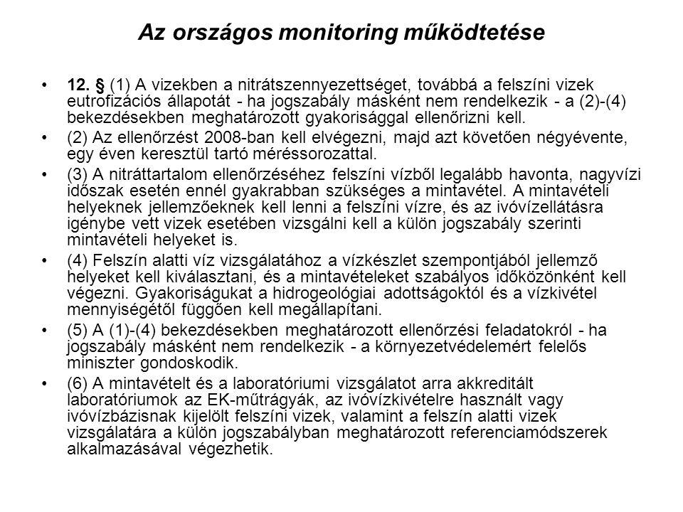 Az országos monitoring működtetése 12.