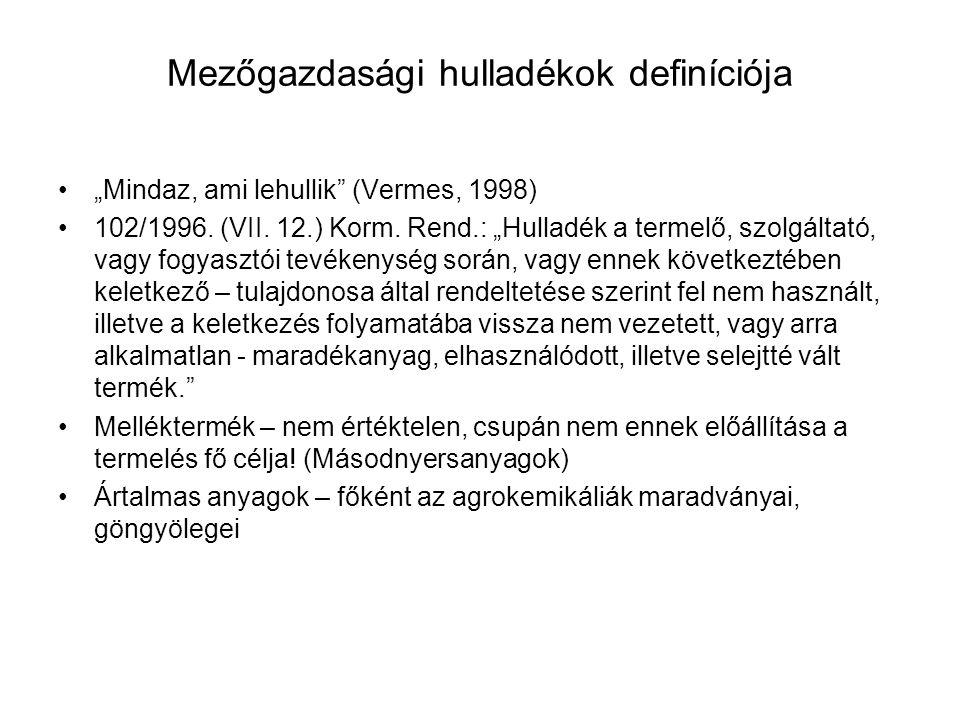 A hulladékok, mint a biomassza részei Növényi szervezetek – Elsődleges biomassza Állati szervezetek – Másodlagos biomassza Ipari melléktermékek – Harmadlagos biomassza Nyílt termelési ciklus – sok hulladék Zárt termelési ciklus – kevés/zéró hulladék Láng (1983): Elsődleges biomassza Magyarországon 54,5 mill.