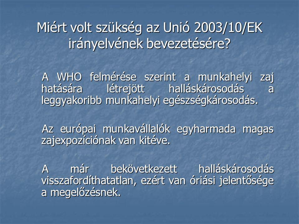 Miért volt szükség az Unió 2003/10/EK irányelvének bevezetésére.