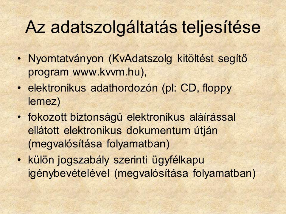 Az adatszolgáltatás teljesítése Nyomtatványon (KvAdatszolg kitöltést segítő program www.kvvm.hu), elektronikus adathordozón (pl: CD, floppy lemez) fokozott biztonságú elektronikus aláírással ellátott elektronikus dokumentum útján (megvalósítása folyamatban) külön jogszabály szerinti ügyfélkapu igénybevételével (megvalósítása folyamatban)
