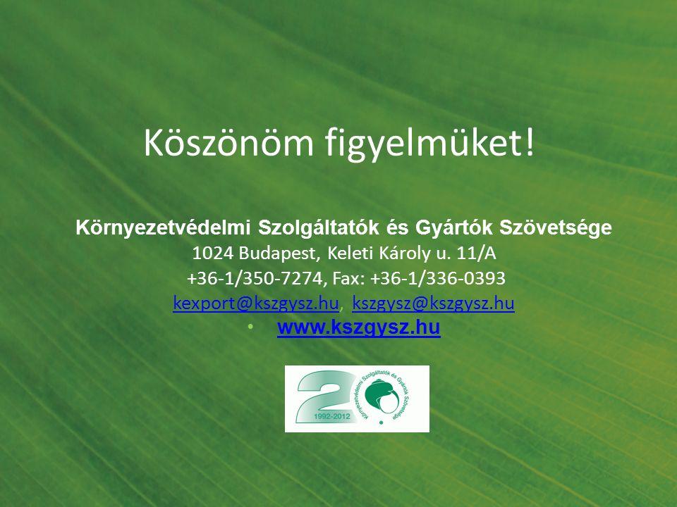 Köszönöm figyelmüket! Környezetvédelmi Szolgáltatók és Gyártók Szövetsége 1024 Budapest, Keleti Károly u. 11/A +36-1/350-7274, Fax: +36-1/336-0393 kex