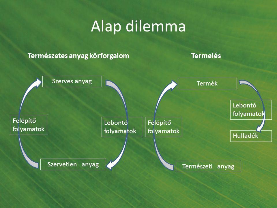 Alap dilemma Természetes anyag körforgalom Szerves anyag Szervetlen anyag Felépítő folyamatok Lebontó folyamatok Termék Természeti anyag Felépítő foly
