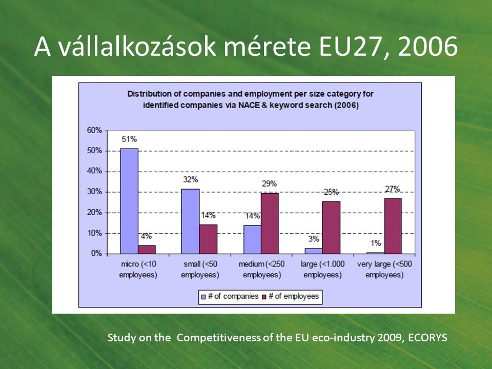 A vállalkozások mérete EU27, 2006 Study on the Competitiveness of the EU eco-industry 2009, ECORYS