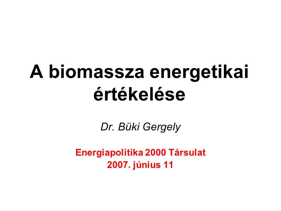A biomassza energetikai értékelése Dr. Büki Gergely Energiapolitika 2000 Társulat 2007. június 11