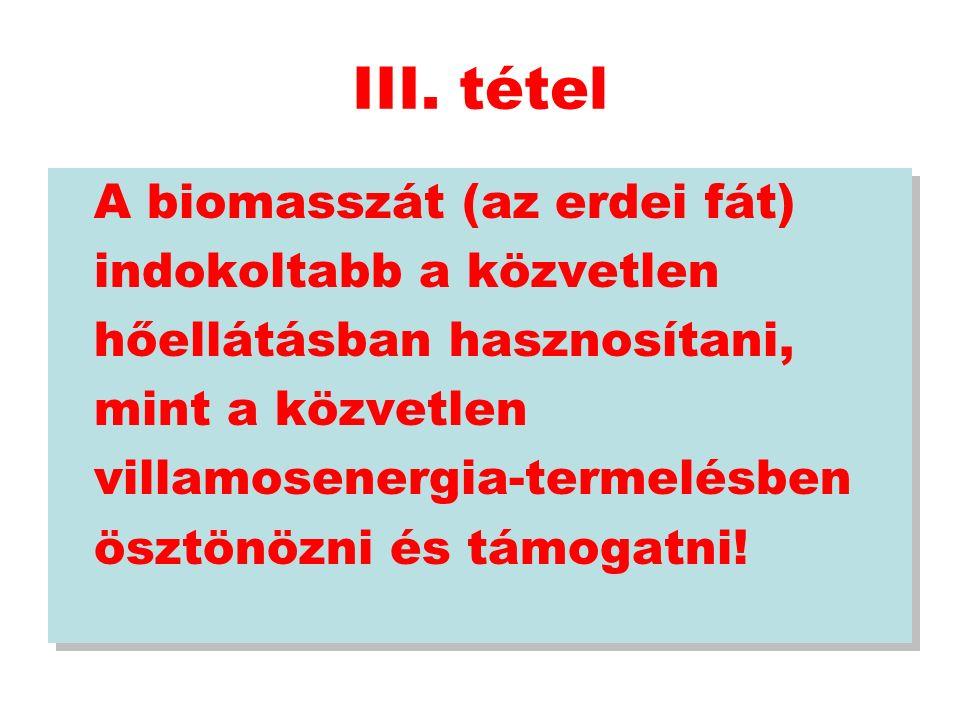 III. tétel A biomasszát (az erdei fát) indokoltabb a közvetlen hőellátásban hasznosítani, mint a közvetlen villamosenergia-termelésben ösztönözni és t