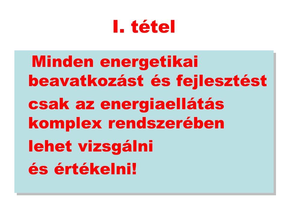 I. tétel Minden energetikai beavatkozást és fejlesztést csak az energiaellátás komplex rendszerében lehet vizsgálni és értékelni! Minden energetikai b