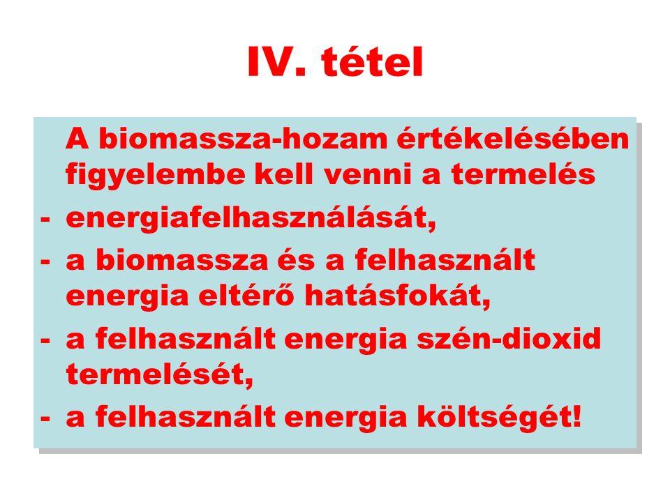 IV. tétel A biomassza-hozam értékelésében figyelembe kell venni a termelés -energiafelhasználását, -a biomassza és a felhasznált energia eltérő hatásf