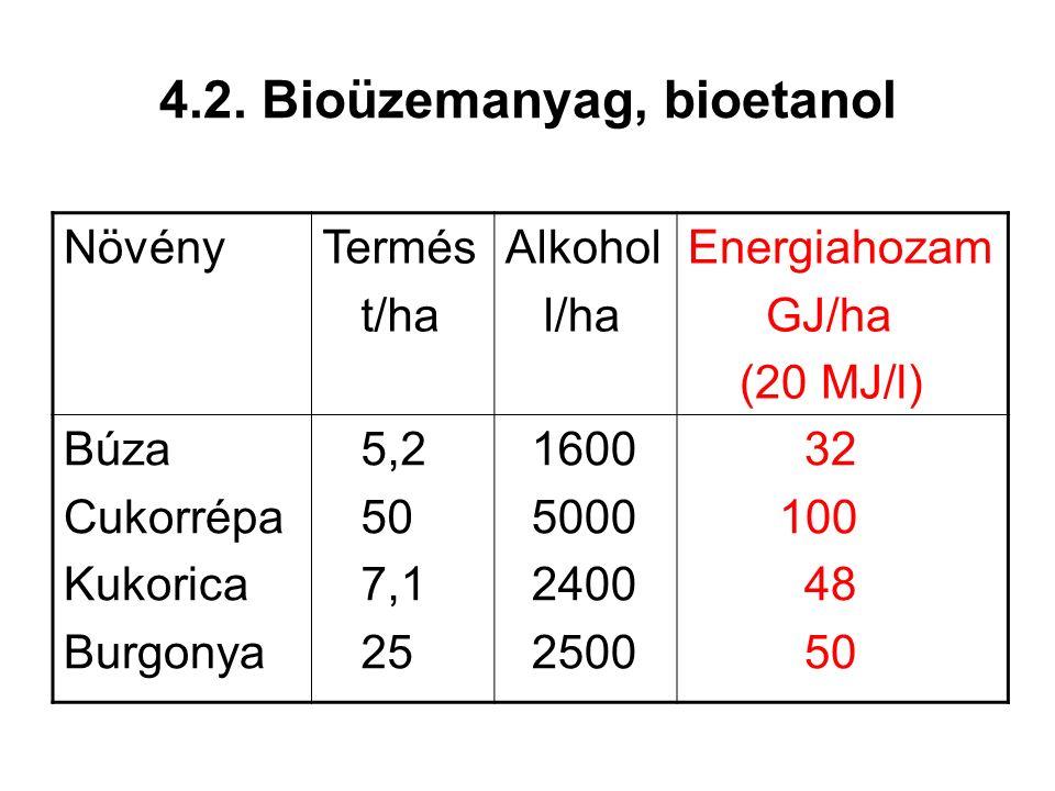 4.2. Bioüzemanyag, bioetanol NövényTermés t/ha Alkohol l/ha Energiahozam GJ/ha (20 MJ/l) Búza Cukorrépa Kukorica Burgonya 5,2 50 7,1 25 1600 5000 2400