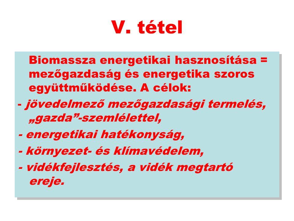 V. tétel Biomassza energetikai hasznosítása = mezőgazdaság és energetika szoros együttműködése.