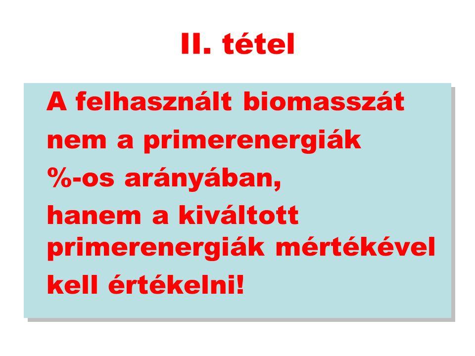 II. tétel A felhasznált biomasszát nem a primerenergiák %-os arányában, hanem a kiváltott primerenergiák mértékével kell értékelni! A felhasznált biom