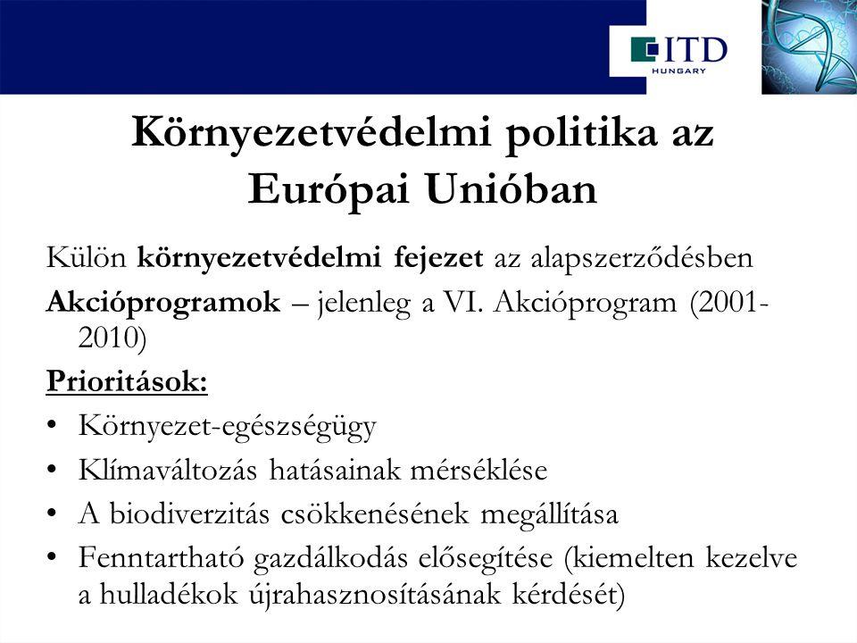 Környezetvédelmi politika az Európai Unióban Külön környezetvédelmi fejezet az alapszerződésben Akcióprogramok – jelenleg a VI. Akcióprogram (2001- 20