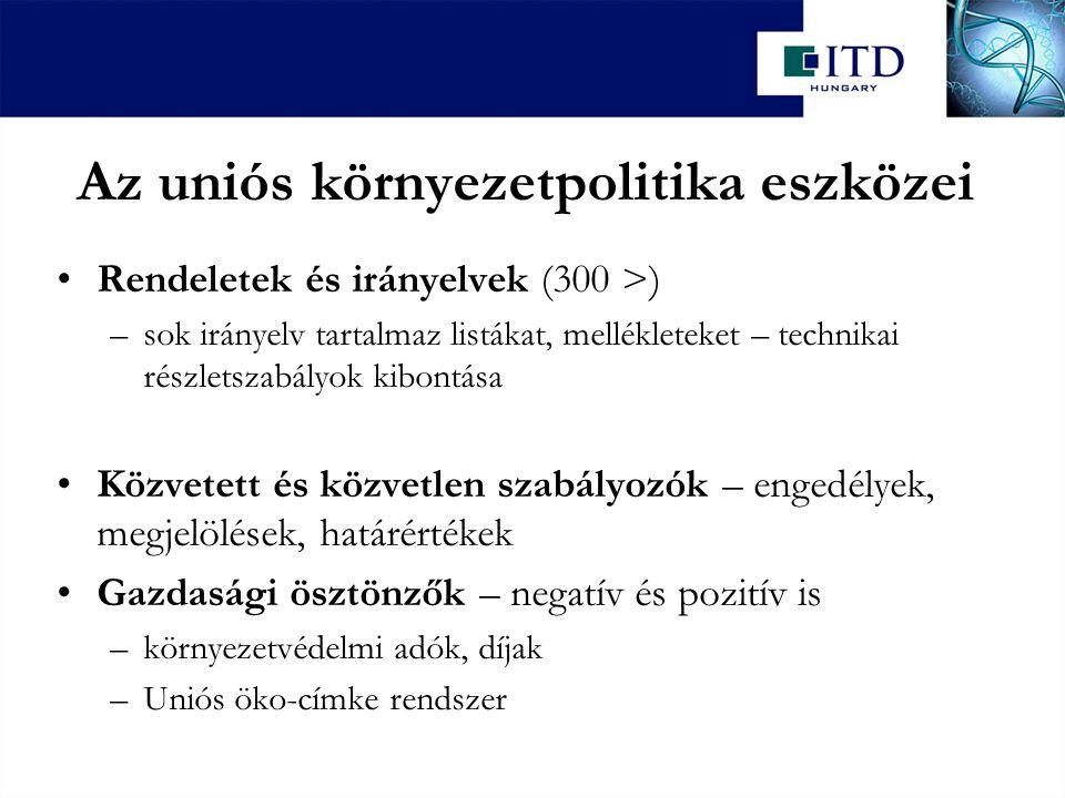 Az uniós környezetpolitika eszközei Rendeletek és irányelvek (300 >) –sok irányelv tartalmaz listákat, mellékleteket – technikai részletszabályok kibo